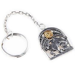 Серебряный брелок Знак зодиака Козерог с позолотой 000004665
