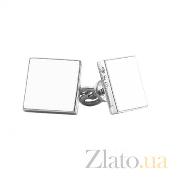 Золотые серьги-пуссеты с эмалью Белый квадрат 000029878