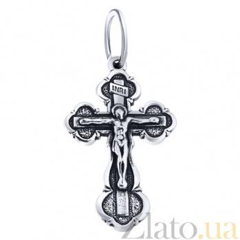 Серебряный крестик с чернением Крещение AUR--74024*