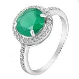 Серебряное кольцо Изольда с наноизумрудом и фианитами