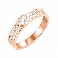 Золотое помолвочное кольцо Сила сердца с фианитами