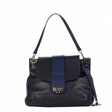 Кожаная сумка на каждый день Genuine Leather 8813 темно-синего цвета на молнии под клапаном