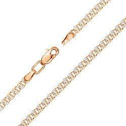 Золотой браслет в комбинированном цвете в плетении лав, 3,5мм 000141307