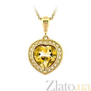 Золотое колье с цитрином и бриллиантами Любимая 000029642