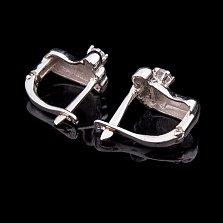 Серебряные серьги Следочки с фианитами