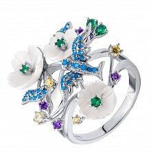 Серебряное кольцо Весенний сад с птицей, цветами, белым перламутром и фианитами микс