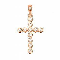 Золотой декоративный крестик Надежда в красном цвете с фианитами