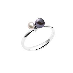 Серебряное кольцо Ночное небо с подвижными бусинами из черного и белого жемчуга