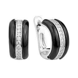 Серебряные серьги с черной керамикой и фианитами 000131752