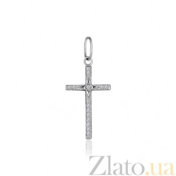 Серебряный крестик с фианитами Ефимия 000025290