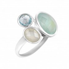 Серебряное кольцо Нереида с топазом, голубым и белым халцедоном
