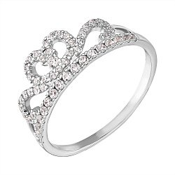 Кольцо-корона из белого золота с фианитами 000103723