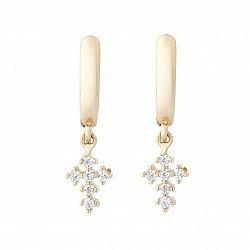 Серьги-повески из желтого золота Крестики с кристаллами циркония