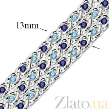 Серебряный браслет Мирена с синим и голубым цирконием 000044857