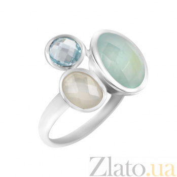 Серебряное кольцо Нереида с топазом, голубым и белым халцедоном 000081522
