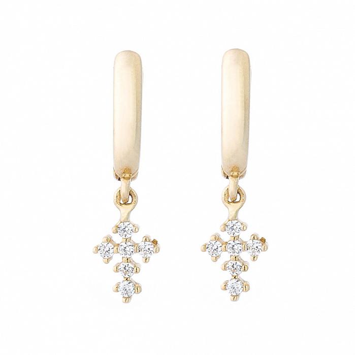 Серьги-повески из желтого золота Крестики с кристаллами циркония 000082682