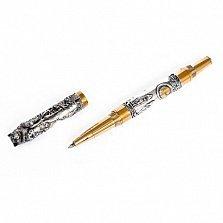 Серебряная ручка Волк с позолотой и изумрудом