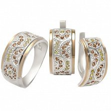 Серебряное кольцо с  золотом и фианитами Прелесть