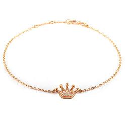 Золотой браслет на ногу с фианитами Корона, размер 24-26см 000035479