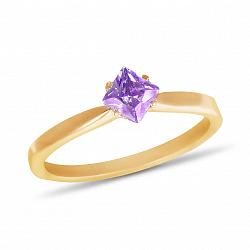 Золотое кольцо Ясмин с ромбиком в четырех крапанах и аметистом