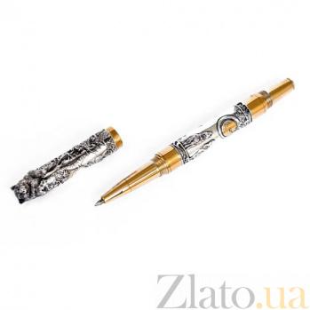 Серебряная ручка Волк с позолотой и изумрудом 2-447