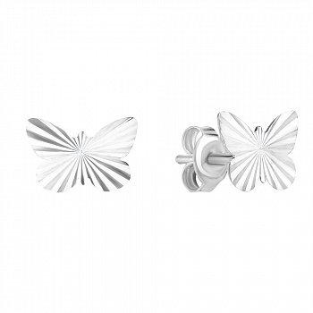 Серебряные серьги-пуссеты с алмазной насечкой 000115209