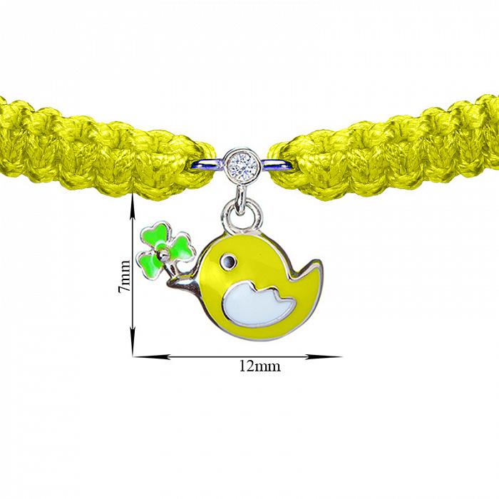 Детский плетеный браслет Птичка и клевер с эмалью на подвеске и фианитом, 7х12м 000080603