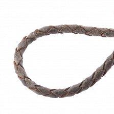 Кожаный шнурок Благодать с серебряной застежкой, позолотой и чернением