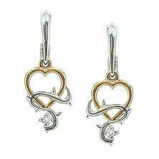 Серебряные сережки Тернистая любовь с позолотой и бриллиантом