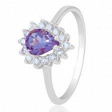 Золотое кольцо Фаина в белом цвете с аметистом и фианитами