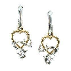 Серебряные серьги с позолотой и бриллиантом 000040289