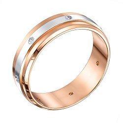 Золотое обручальное кольцо Лаванда в комбинированном цвете с бриллиантами