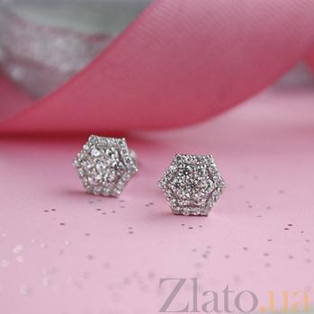 Серебряные серьги-пуссеты Camellia HUF-2985-Р