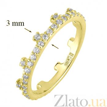 Кольцо из желтого золота с фианитами Символ власти 000022947