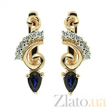 Серьги из желтого золота с сапфирами и бриллиантами Генриетта ZMX--EDS-5595y