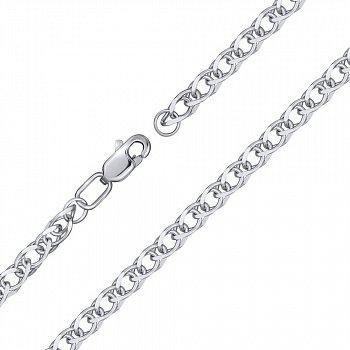 Серебряный браслет в плетении ромбо с овальными звеньями и алмазной гранью, 4мм 000118109