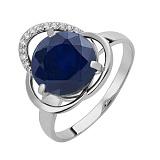 Серебряное кольцо Дианора с синтетическим сапфиром и фианитами