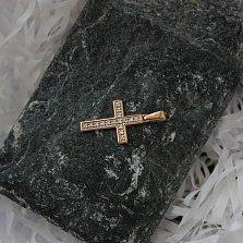 Крестик в красном золоте Софья с бриллиантами