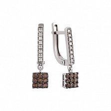 Золотые серьги-подвески с коньячными и белыми бриллиантами Николет
