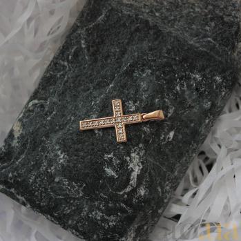 Крестик в красном золоте Софья с бриллиантами VLA--33030
