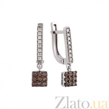 Золотые серьги-подвески с коньячными и белыми бриллиантами Николет KBL--С2477/бел/брил