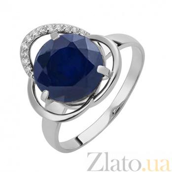 Серебряное кольцо Дианора с синтетическим сапфиром и фианитами 000032418