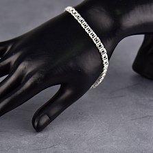 Серебряный браслет Танти в плетении бисмарк, 5мм