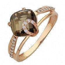Золотое кольцо Эвелин с раухтопазом и фианитами