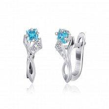 Серебряные сережки с голубыми фианитами Жаклин