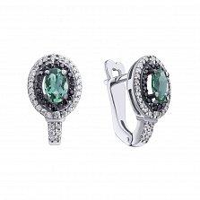 Серебряные серьги Тея с зеленым кварцем, черными и белыми фианитами