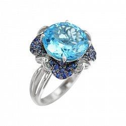 Кольцо из белого золота Кэтлин с синими сапфирами и голубым топазом