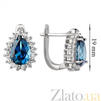 Серебряные сережки с Лондон топазами и фианитами Эстурой 000013310