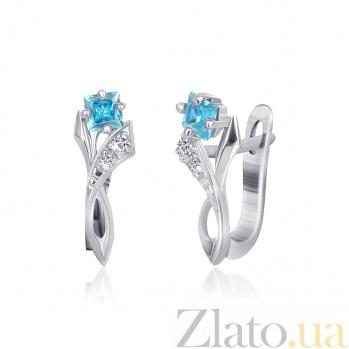 Серебряные сережки с голубыми фианитами Жаклин SLX--СК2ФТ1/008