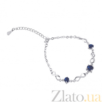 Серебряный браслет с синими фианитами Жозефина 000025884